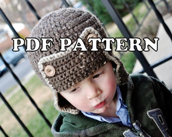 PDF PATTERN - Crochet Aviator Bomber Hat
