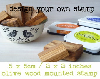 Made To Order Olive Wood Stamp With Your Design.