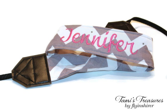 Personalized Camera Strap Chevron Gray White, DSLR Camera Strap, Embroidered Camera Strap, Canon, Nikon