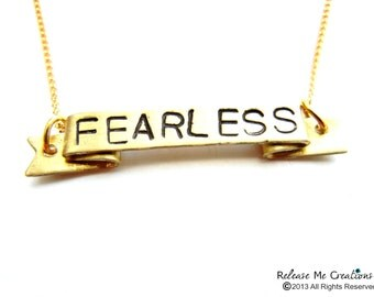 Positive Mantra Banner Necklace Dreamer Fearless Strength Courage Breathe Customizable
