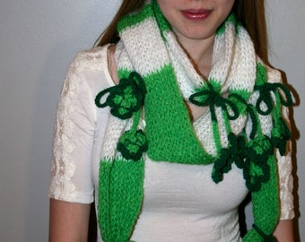 Hand Knit Shake Your Shamrock Scarf