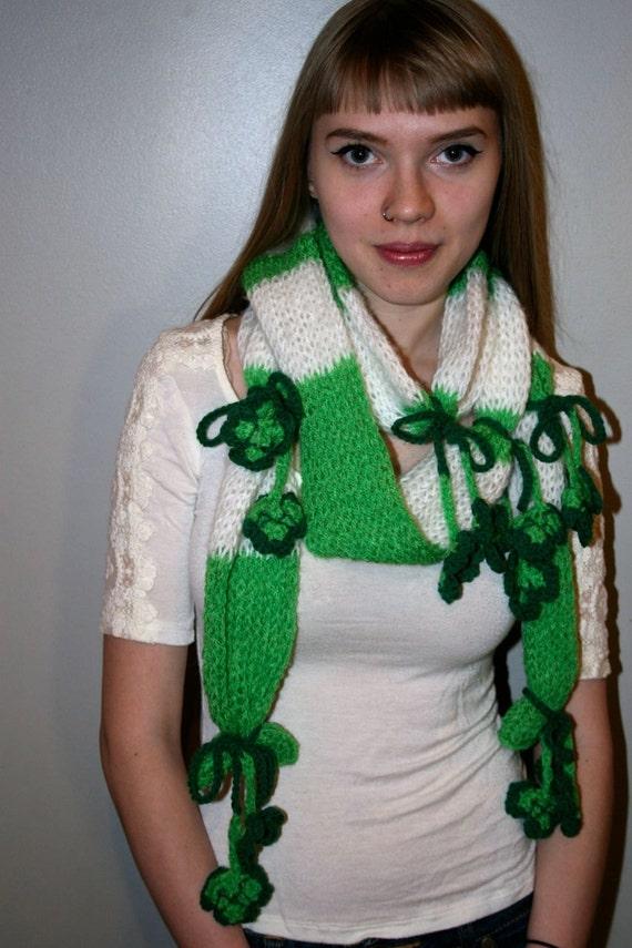 Hand Knit Shake Your Shamrock Scarf