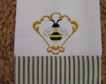 Heirloom Honeybee Fan (Bees) - MicroFiber Kitchen Waffle Weave Hand Towel