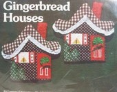 Vintage Ornament Stitchery Kit Two Gingerbread Houses Holiday Decoration NIP1981 USA PeachyChicSewing on Etsy