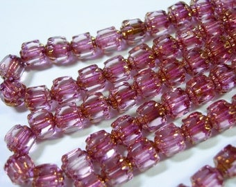 25 6mm Pink with Gold Firepolished Cathedral Czech Glass Beads
