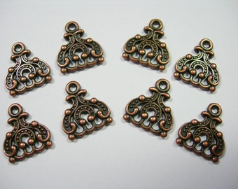 Copper Plated 3 hole / 3 strand drops - connectors - dangles 15mm - 8