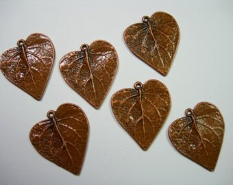Copper Plated Leaf Drops - Pendants - 26mm - 6