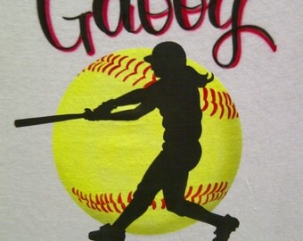 Airbrush Softball & Batter Shirt Personalized with Name size S M L XL 2X Airbrushed TShirt