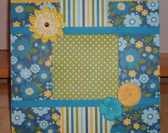 Blue and Yellow Floral Decoupaged Picture Frame