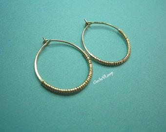 "7/8""(23mm) Large 14K gold filled wire hoop with coil"
