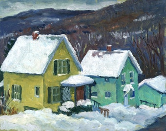 Berkshires, New England Snow. 8x10 Plein Air Impressionist Winter Cityscape, Signed Original Oil Painting, American Realist Landscape