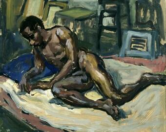 Reclining Male Nude, Figure Painting. Small Oil on Panel, 8x10 Realist Figure Painting, Signed Original Fine Art