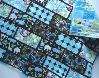 Baby Blanket Patchwork Blue Brown  Michael Miller Zoology Baby Blanket with Flannel
