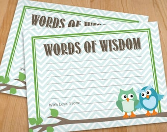 WORDS of WISDOM Owl Advice Cards in Seafoam and Teal- Instant Printable Download