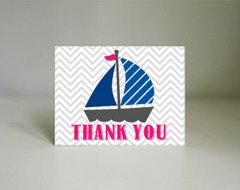 SAIL BOAT Nautical Thank You Card in Pink and Navy Blue- Instant Printable Download
