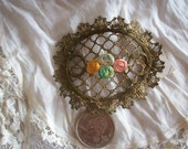French Antique metal net mesh applique with beautiful ribbon rosettes made of silk