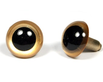 3 pairs - 12mm to 15mm GOLDEN Japanese Hand Painted Pearl-tallic Safety Plastic Eyes with Metal Washer