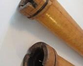 2 Vintage Wooden Textile Spools  Commercial Mill  Bobbins Spindles