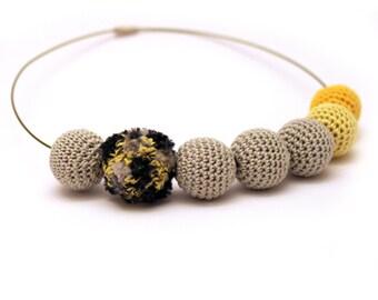 Fancy Grey Yellow Crochet Necklace / Statement Necklace / Crochet Beaded Necklace Made in Israel by CasaDeGato