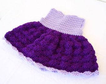 Baby sun dress 3-6 month crocheted purple light lavender plum lilac girl summer spring shell stitch pretty fancy cute small dainty
