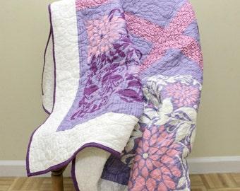 Purple Batik Lap Quilt, Large Panel Floral, Long Arm Quilted, Lap Blanket, Throw Blanket Quilt