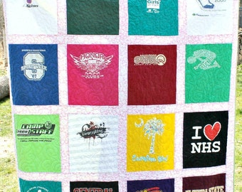 T Shirt Quilt, 16 Patch, Custom Made, Extra Large Lap Size, Throw Blanket, Long Arm Quilted