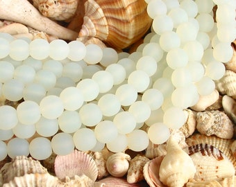 "1 / 2 str 8"" Opal White 4mm sea beach velvet glass beads matte frosted small round"