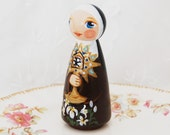Saint Clare of Assisi Catholic Saint Doll - Wooden Toy - Made to Order