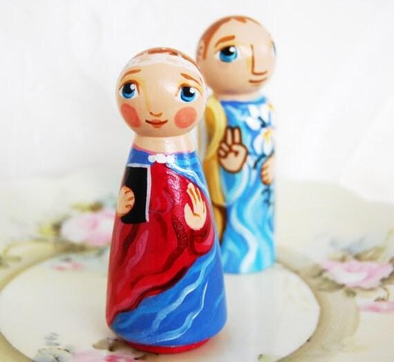 Annunciation Peg Doll Set - Catholic Saint Dolls Catechesis of the Good Shepherd