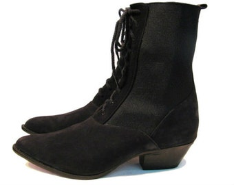Vintage Black Suede Elastic Gusset Victorian Western Boots Womens US size 6