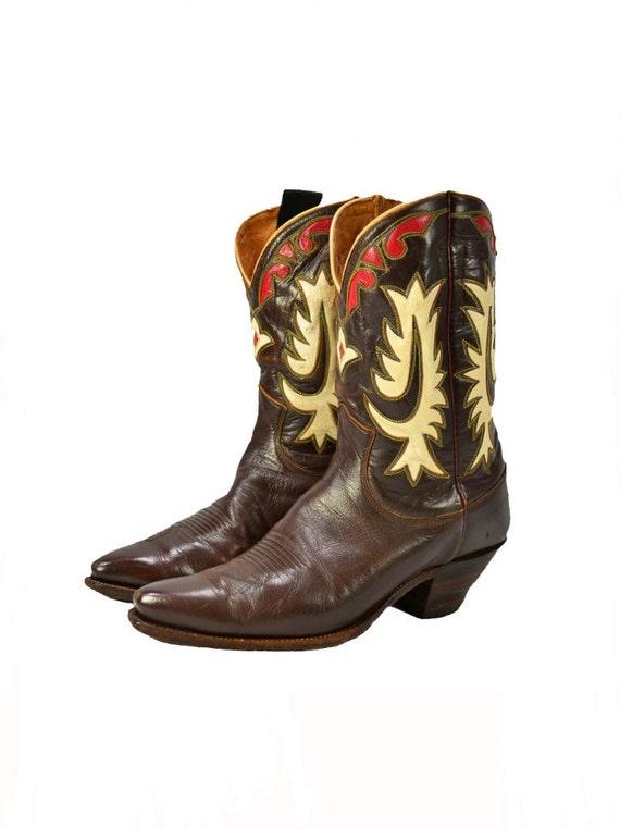 Vintage Inlay Cowboy Boots Mens1940s Justin Western Boots Mens