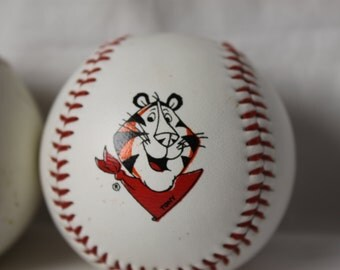 2 Tony the Tiger Baseball Vintage Regulation Size Signed Tony plus Pawprint Great stocking stuffer for baseball fans and kids