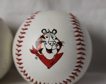 2 Tony the Tiger Baseball Vintage Regulation Size Signed Tony plus Pawprint