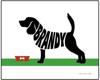 Personalized Beagle Silhouette Art Print, Dog Lovers Gift, Beagle Name Wall Art, Dog Memorial Gift