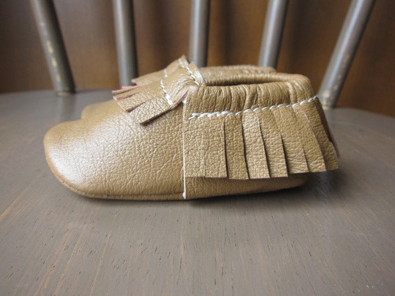 Soft Sole Baby Shoes Moccasins Camel Brown Leather
