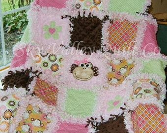Baby Girl Rag Quilt Green brown and orange girly Monkey