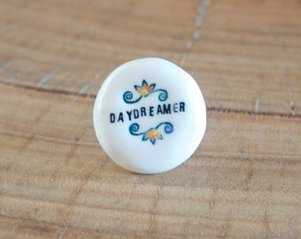 Porcelain and Sterling Silver Ring Daydreamer, Ceramic Jewelry by Mrs Peterson Pottery