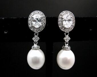 Bridal earrings bridal jewelry wedding jewelry wedding jewelry bridesmaid oval white shell pearl oval cubic zirconia post