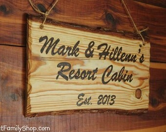 Custom Woodburned Sign Rustic Plaque Names Cabin Personalized