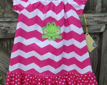 Peasant dress chevron polka dot hot pink frog applique