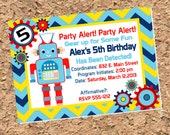 Robot Birthday Invitation - Gear Up for Some Fun