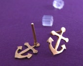 Anchors away brass earrings