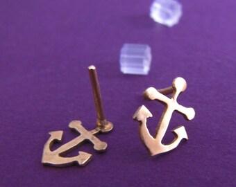 Anchors away brass earrings