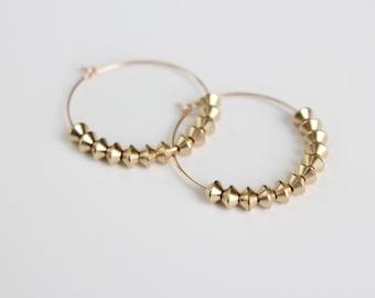 Brass Beaded Hoop Earrings - Gold - SALE