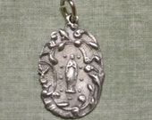 Silver Medal of Our Lady Lourdes Ornate  Religious pendant for necklace rosary bracelet