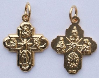 2 GOLD PLATED 5-Way Gold Cross Medal 3/4 inch Pendant for Necklace, rosary, Charm Bracelet , chaplet