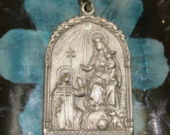 Silver RARE Medal of Our Lady of HOLY ROSARY Religious pendant for necklace, rosary, bracelet