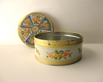 Vintage Floral Decorative TIN- Atlantic Can Co, gold trim, Made in New Jersey