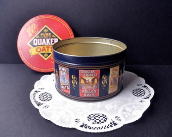 Vintage Cylinder DECORATIVE TIN - Quaker Oats, 1980s