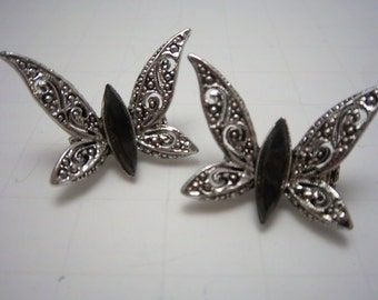 Elegant Vintage Onyx and Silvertone Spring Butterfly Scatter Pins